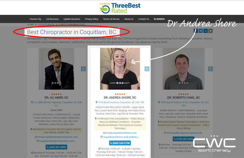 awarded best chiropractor in coquitlam